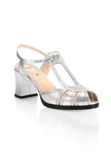 Fendi Chameleon Metallic Leather Block Heel Sandals