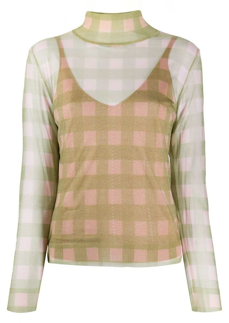 Fendi check knitted top