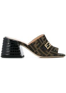 Fendi chunky mid heel monogram sandals