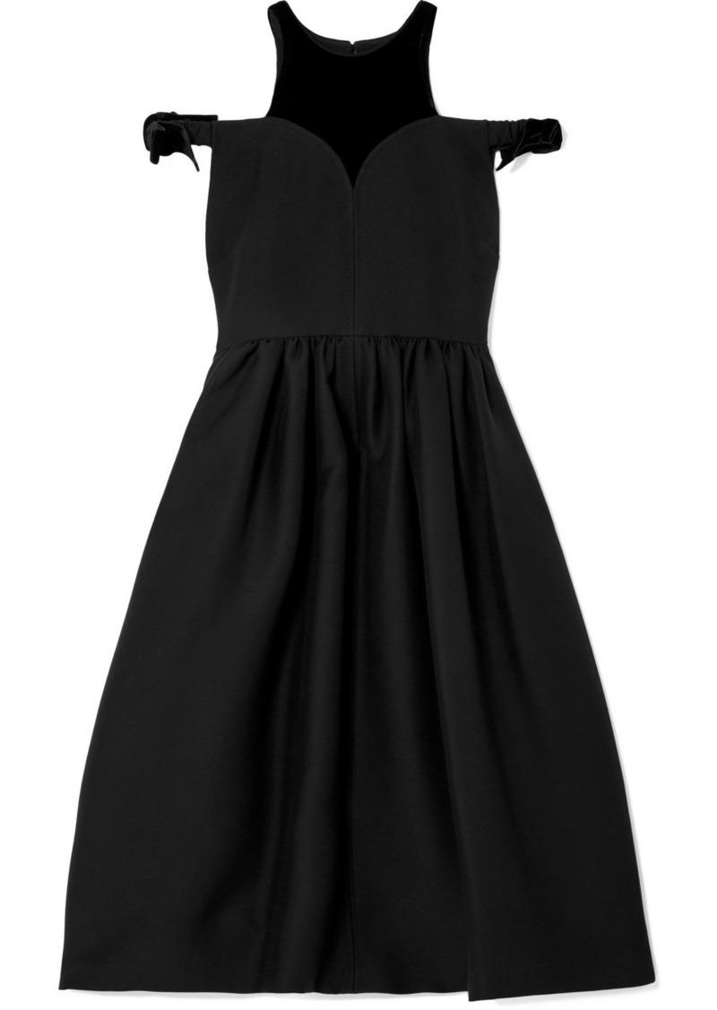 Fendi Cold-shoulder Velvet-trimmed Wool And Silk-blend Midi Dress