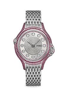 Fendi Crazy Carats Stainless Steel Diamond & Ruby Bracelet Watch