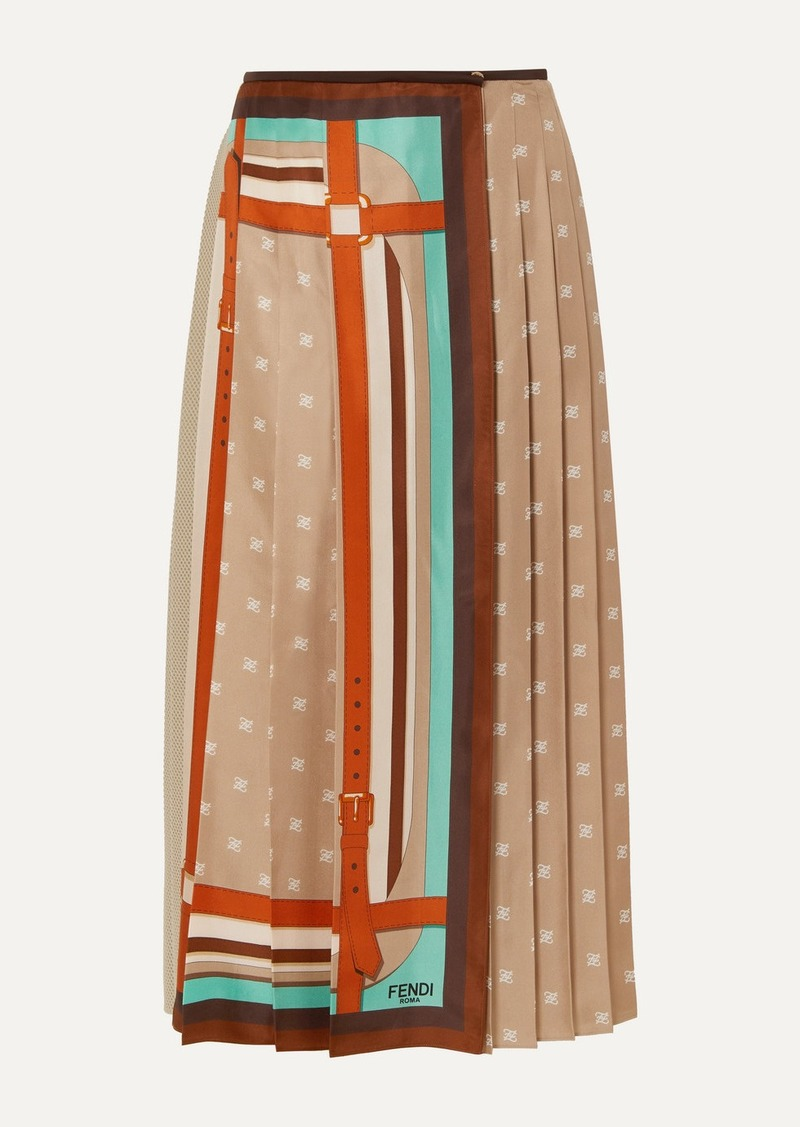 Fendi Crochet-paneled Pleated Printed Silk-satin Wrap Skirt