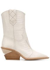 Fendi crocodile-embossed ankle boots