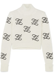 Fendi Cropped Embroidered Wool And Cashmere-blend Turtleneck Sweater