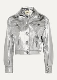Fendi Cropped Metallic Denim Jacket