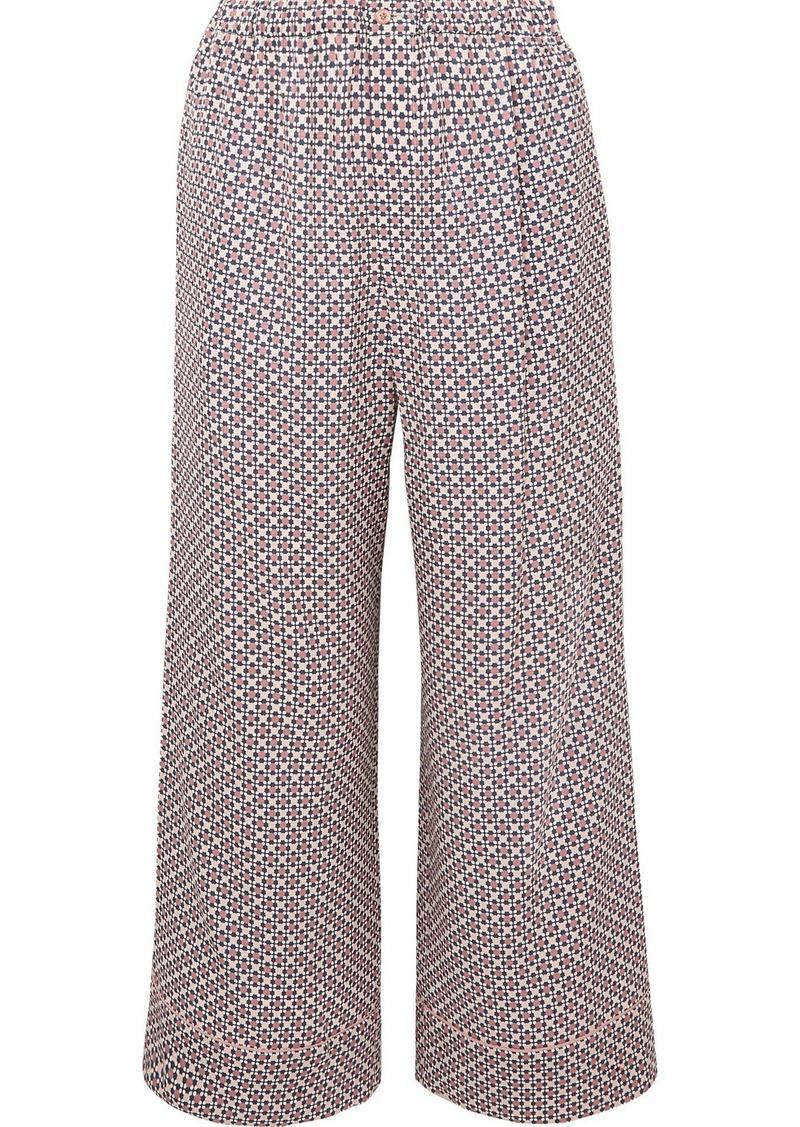 Fendi Cropped Printed Silk-charmeuse Pants