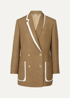 Fendi Double-breasted Bow-detailed Leather-trimmed Wool And Silk-blend Blazer
