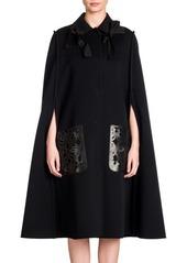 Fendi Double-Face Wool & Leather Cape