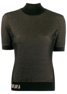 Fendi double-layer mesh-knit top