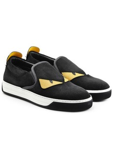 Fendi Embellished Suede Slip-On Sneakers