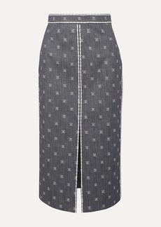 Fendi Embroidered Denim Midi Skirt