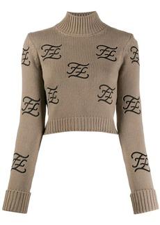 Fendi embroidered logo high neck jumper
