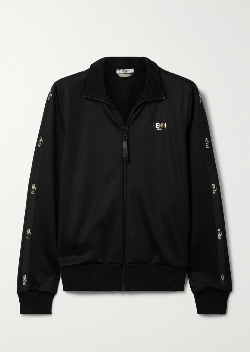Fendi Embroidered Satin-trimmed Tech-jersey Track Jacket