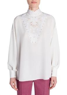 Fendi Embroidered Silk Blouse