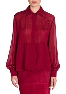 Fendi Embroidered Voile Blouse