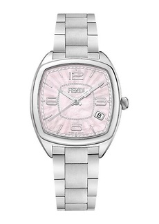Fendi F221037500 Momento Pink Mother-of-Pearl Satin-Brushed Stainless Steel Link Bracelet Watch