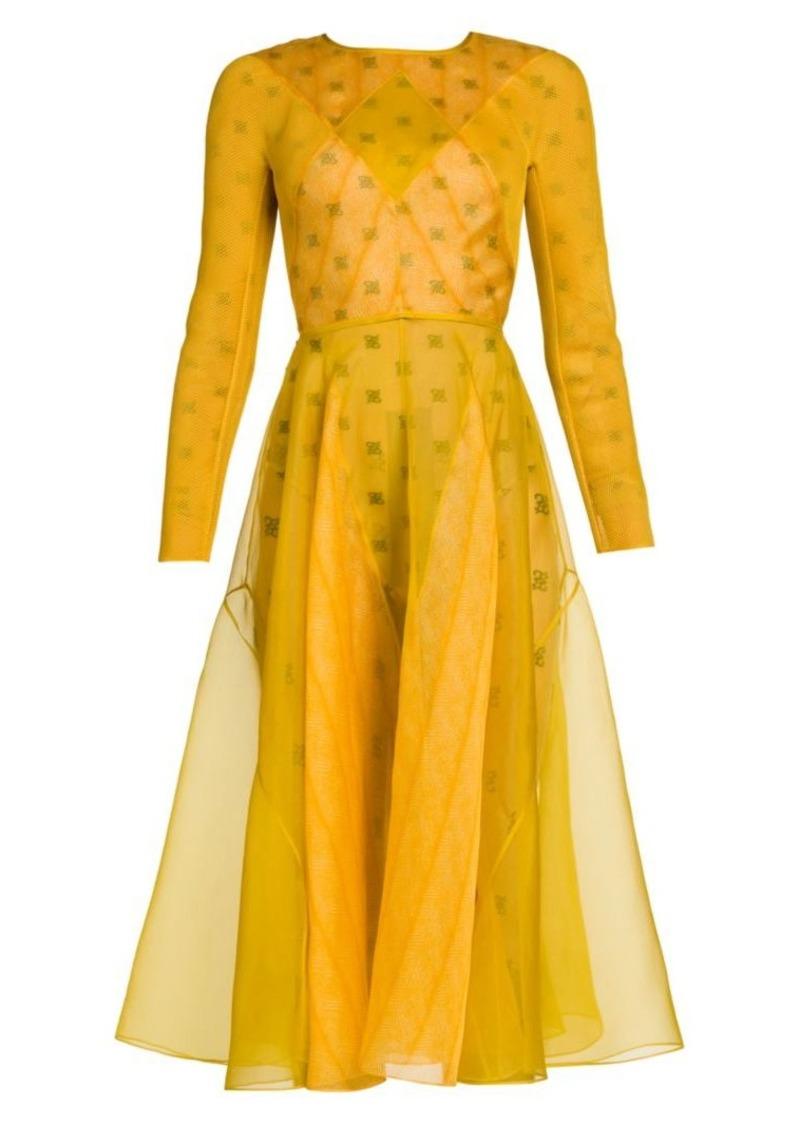 Fendi Feathered Organza Midi Dress