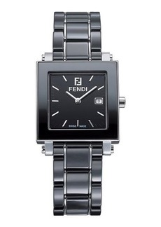 Fendi 30mm Ceramic & Stainless Steel Square Watch