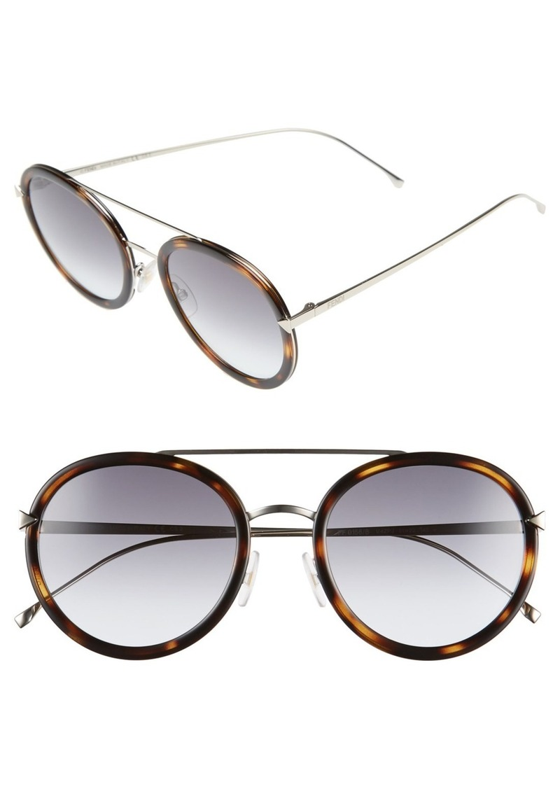 Fendi 51mm Round Aviator Sunglasses