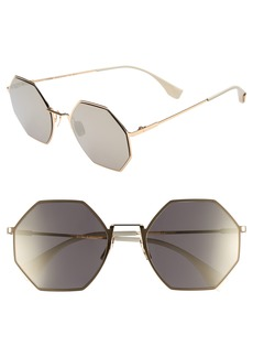 Fendi 53mm Octagonal Polarized Metal Sunglasses