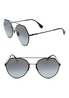 Fendi 55MM Notched Aviator Sunglasses