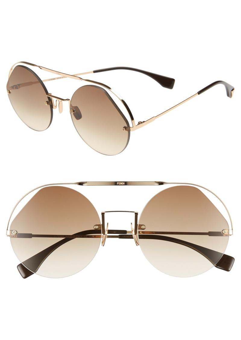 Fendi 56mm Semi Rimless Round Aviator Sunglasses