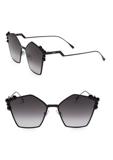 Fendi 57MM Embellished Pentagon Sunglasses