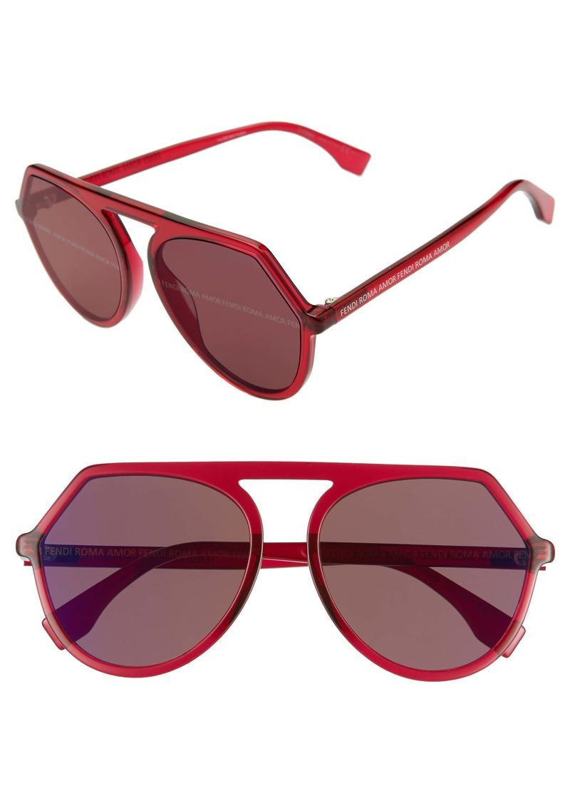 Fendi 57mm Flat Front Sunglasses