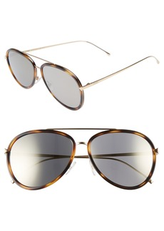 Fendi 57mm Mirrored Lens Aviator Sunglasses