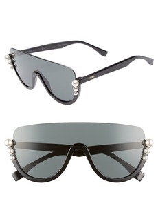 Fendi 57mm Polarized Rimless Shield Sunglasses