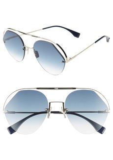 Fendi 57mm Rimless Aviator Sunglasses