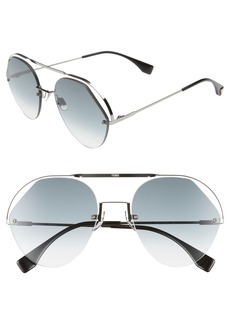 Fendi 57mm Rimless Aviator Sunglasses