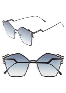 Fendi 57mm Stud Geo Metal Sunglasses
