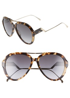 Fendi 58mm Aviator Sunglasses
