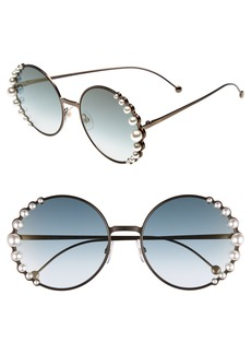 Fendi 58mm Embellished Round Sunglasses