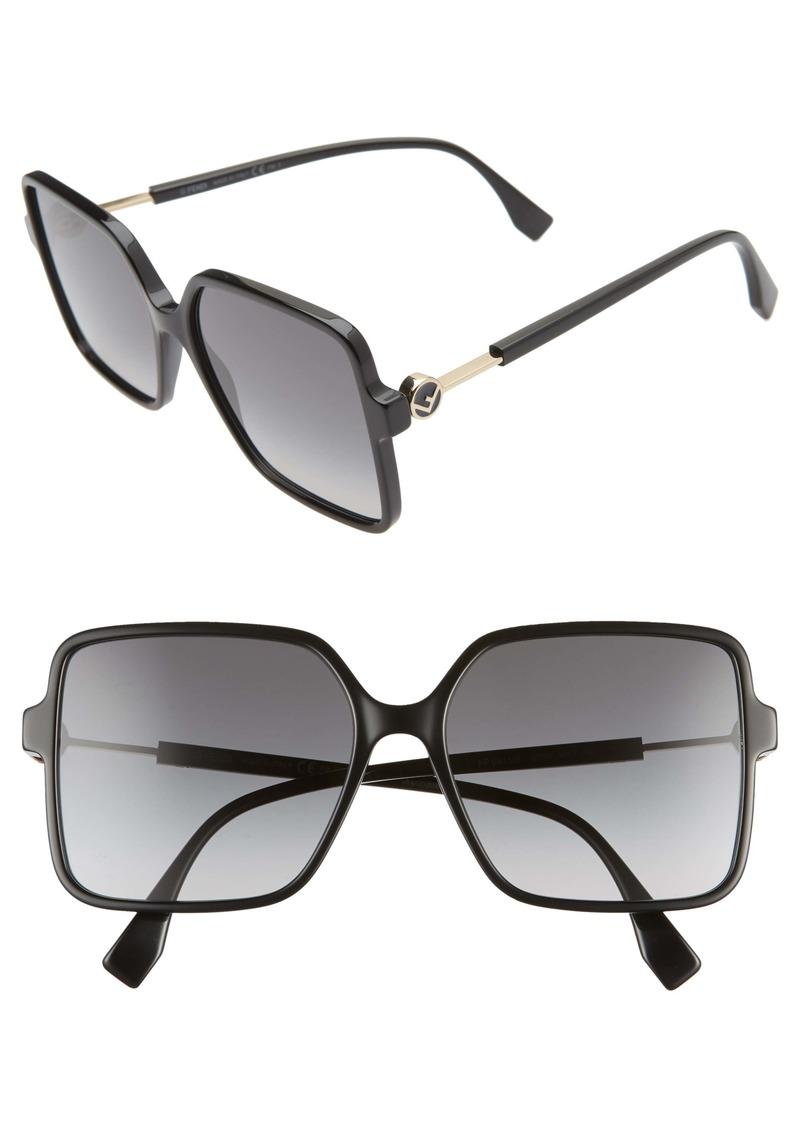 Fendi 58mm Gradient Square Sunglasses