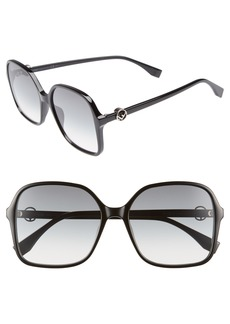 Fendi 58mm Square Sunglasses