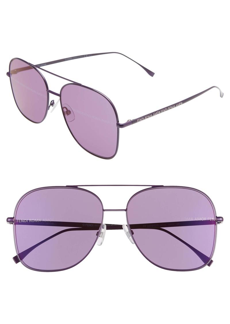 Fendi 59mm Holographic Aviator Sunglasses