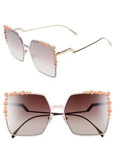 Fendi 60mm Gradient Square Cat Eye Sunglasses
