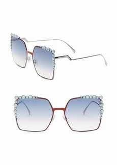 Fendi 60MM Oversized Crystal-Trim Square Sunglasses