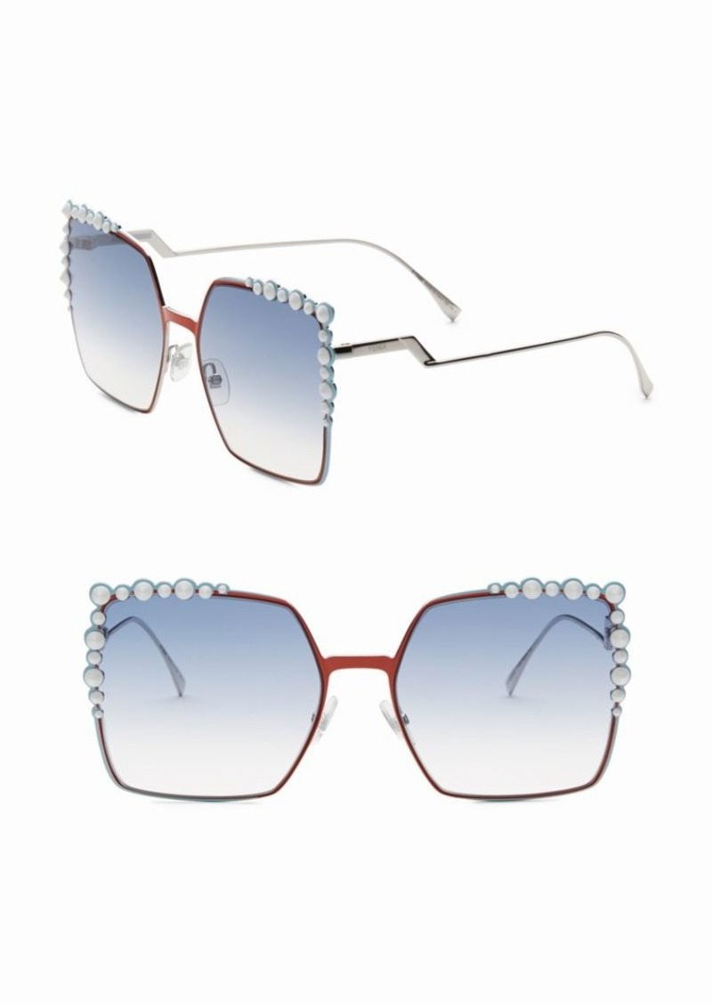 Fendi 60MM Oversize Crystal-Trim Square Sunglasses