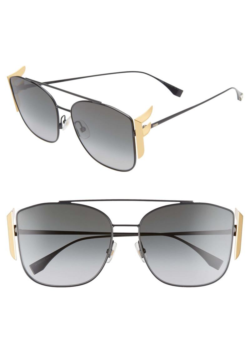 Fendi 62mm Oversize Mirrored Flat Front Sunglasses