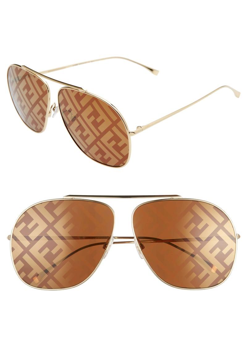 Fendi 64mm Oversize Lenticular Lens Aviator Sunglasses