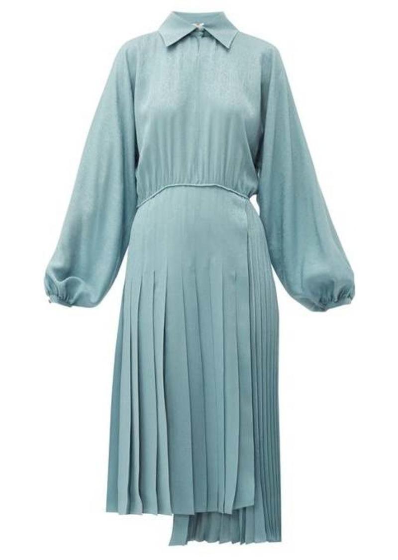 Fendi Asymmetric pleated satin dress
