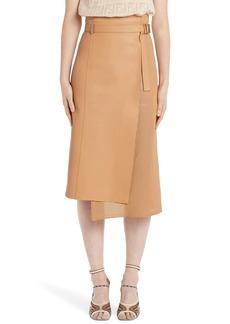 Fendi Asymmetrical Perforated Leather Wrap Skirt