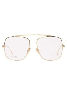 Fendi Aviator crystal-embellished metal glasses