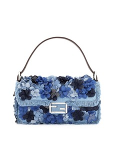 Fendi Baguette Denim Flowers Shoulder Bag  Denim