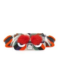 Fendi Baguette Monster Mixed-Fur Shoulder Bag  Orange Multi