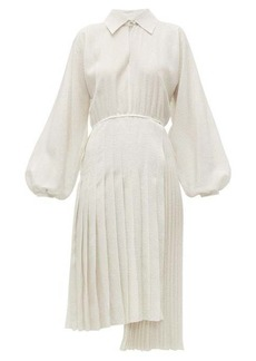 Fendi Balloon-sleeve Swiss-dot silk midi dress