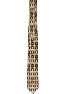Fendi Beige & Black Silk 'Forever Fendi' Tie